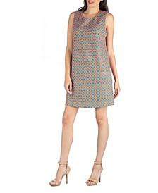 Sleeveless Shift Dress with Geometric Print Detail