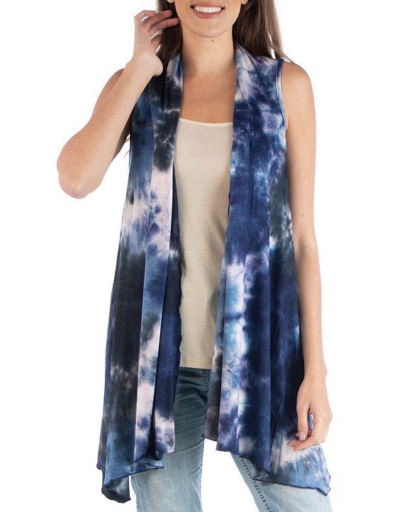 24seven Comfort Apparel Draped Open Front Tie Dye Boho Sleeveless Cardigan