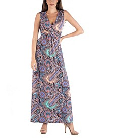 Empire Waist Paisley Maxi Dress with Belt