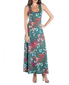Sleeveless Botanical Print A-Line Maxi Dress