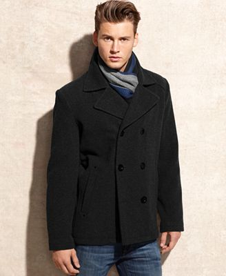 kenneth cole coat wool blend peacoat with scarf coats