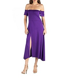 Off Shoulder Soft Flare Midi Dress with Side Slit