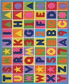 """Fun Time Numbers Letters 19"""" x 29"""" Area Rug"""