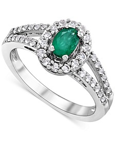 Emerald (1/2 ct. t.w.) & White Topaz (1/2 ct. t.w.) Ring in Sterling Silver