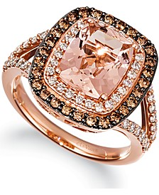 Peach Morganite (2-1/6 ct. t.w.) & Diamond (1-1/10 ct. t.w.) Ring in 14k Rose Gold