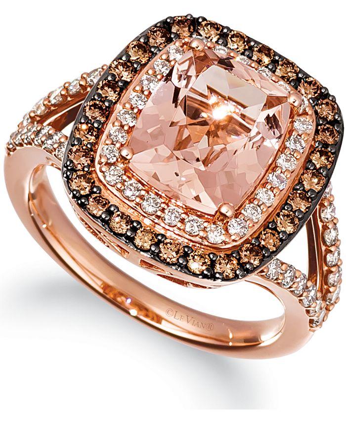 Le Vian - Peach Morganite (2-1/6 ct. t.w.) & Diamond (1-1/10 ct. t.w.) Ring in 14k Rose Gold