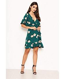 Women's Floral Print Wrap Dress
