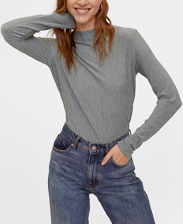 MANGO Pleated T-Shirt