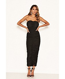 Women's Strapless Ruched Bodycon Midi Dress