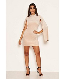 Women's High Neck Split Sleeve Sparkle Mini Dress