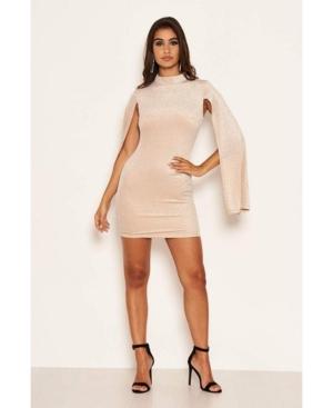 Women's High Neck Split Sleeve Sparkle Mini Dress