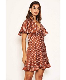 Women's Polka Dot Gathered Tie Front Dress