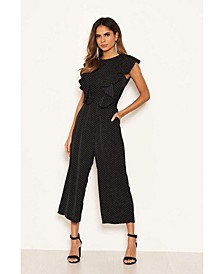 Women's Polka Dot Frill Panel Jumpsuit