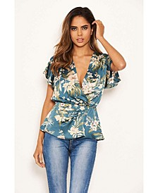 Women's Duck Egg Floral Wrap Over Top