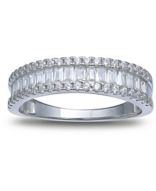 Cubic Zirconia Baguette Band in Sterling Silver, Created for Macy's