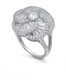 Cubic Zirconia Flower Knot Statement Ring in Sterling Silver