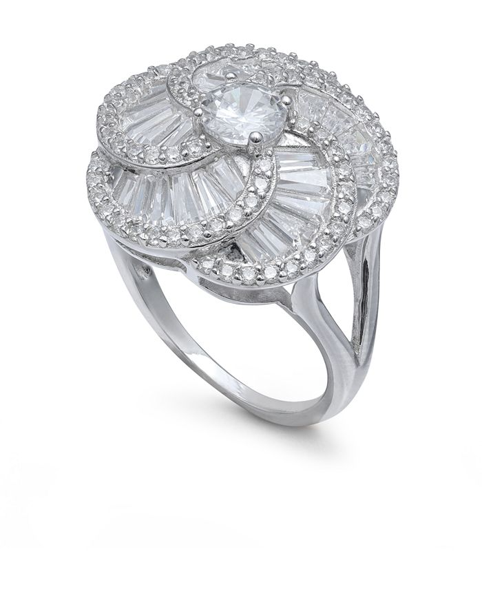 Macy's - Cubic Zirconia Flower Knot Statement Ring in Sterling Silver