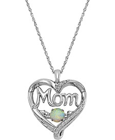 "Lab-Created Opal (5mm) & Cubic Zirconia Mom Heart 18"" Pendant Necklace in Sterling Silver"