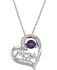 "Amethyst (1/2 ct. t.w.) & Cubic Zirconia Mom Heart 18"" Pendant Necklace in Sterling Silver"