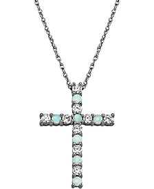 "Lab-Created Opal (1/5 ct. t.w.) & Cubic Zirconia 18"" Cross Pendant Necklace in Sterling Silver"