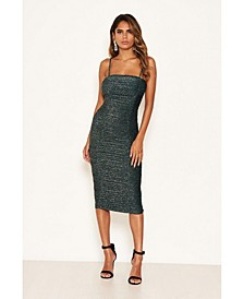 Women's Ruched Sparkle Midi Dress