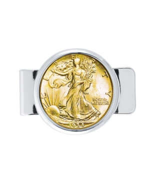 Coin Money Clip with Silver Walking Liberty Half Dollar Layered In Pure Gold