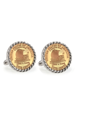 Gold-Layered 2004 Keelboat Rope Bezel Coin Cuff Links