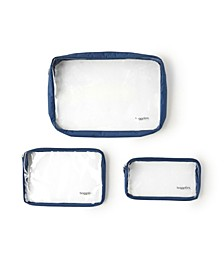 Women's Clear Travel Pouches, Set of 3
