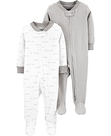 Baby Boys or Girls 2-Pc. Footed Cotton Coverall Set