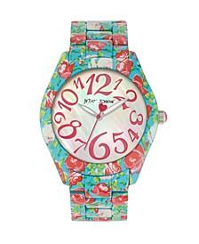 Women's Floral Blue Bracelet Watch 42mm