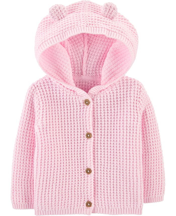 Carter's - Baby Girls Hooded Cotton Cardigan Sweater