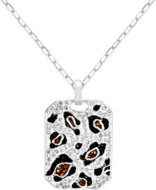 """Crystal Animal Print Dog Tag Pendant Necklace in Fine Silver-Plate, 16"""" + 2"""" extender"""