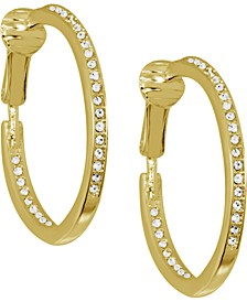 Cubic Zirconia Medium In & Out Clip-On Hoop Earrings in Gold-Plate, 1.18""