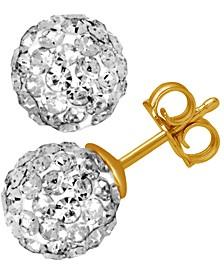 Crystal Fireball Stud Earrings in Gold-Plate