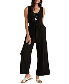 Textured Cotton Tie-Waist Jumpsuit