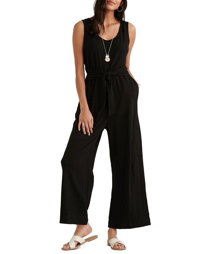 Lucky Brand Textured Cotton Tie-Waist Jumpsuit