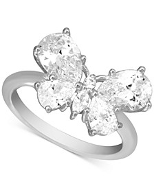 Cubic Zirconia Butterfly Statement Ring in Fine Silver-Plate