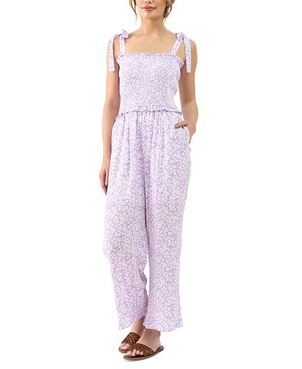 Lost + Wander Mojito Please Floral-Print Smocked-Top Jumpsuit