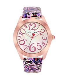 Women's Pink Leopard Polyurethane Strap Watch 42mm