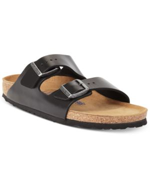 Men'S Arizona Nubuck Leather Slip-On Sandals, Black Amalfi Leather