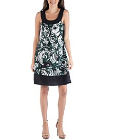 Colorblock Geometric Swirl Pattern Sleeveless Mini Dress