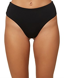 Juniors' Saltwater Solids High-Waist Bikini Bottoms