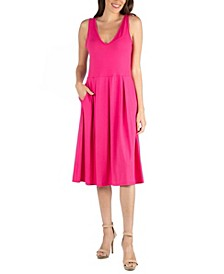 Fit and Flare Midi Sleeveless Dress with Pocket Detail