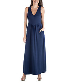 24seven Comfort Apparel Sleeveless V-Neck Maxi Dress with Pocket Detail