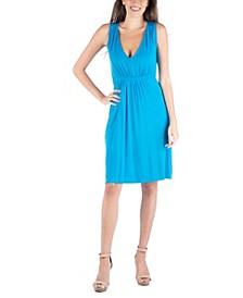 Sleeveless V-Neck Empire Waist Cocktail Dress