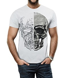 Men's Half Skull Graphic Printed Rhinestone Studded T-Shirt