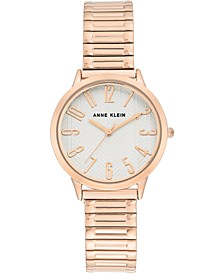 Women's Rose Gold-Tone Stainless Steel Stretch Bracelet Watch 34mm