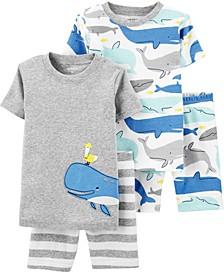 Baby Boys 4-Pc. Cotton Whale Snug-Fit Pajamas