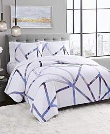 Vince Camuto Obelis Metallic 3 Piece Comforter Set, Full/Queen