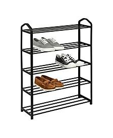 5-Shelf Black Wire Shoe Rack